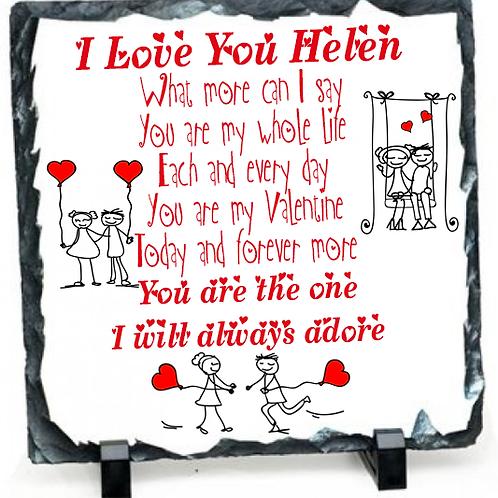Valentine Message on a square slate