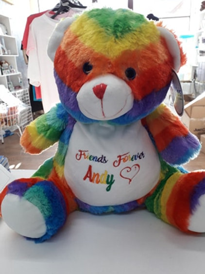 Personalised Embroidered Rainbow Teddy