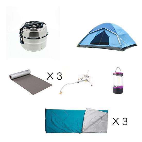 【免費送貨】Set D: 基本3人同行露營套裝(租借)