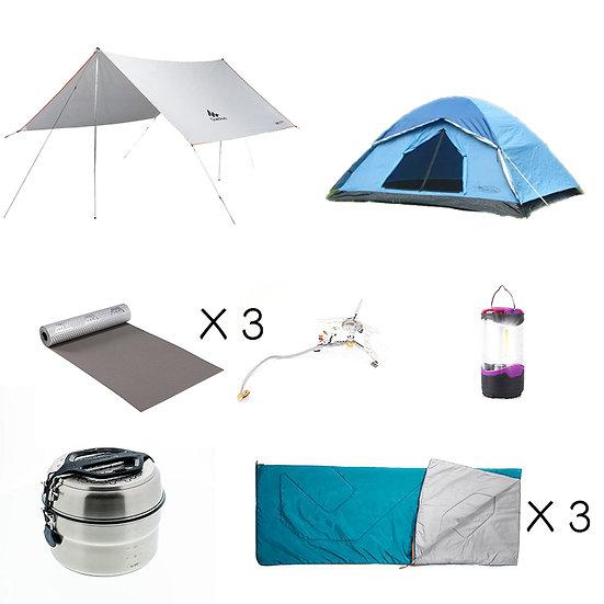 Set E: 進階3人同行露營套裝(租借)