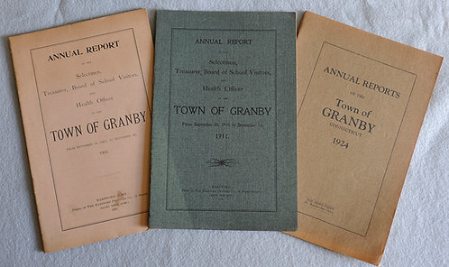 Original Granby Town Reports  1900 to 1935