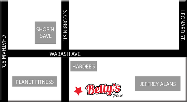Map to Betty's Place