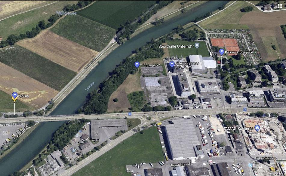 Anfahrtsplan / Parking Pfotenpark in Schlieren
