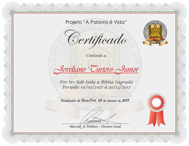 Certificado de Leitura da Bíblia