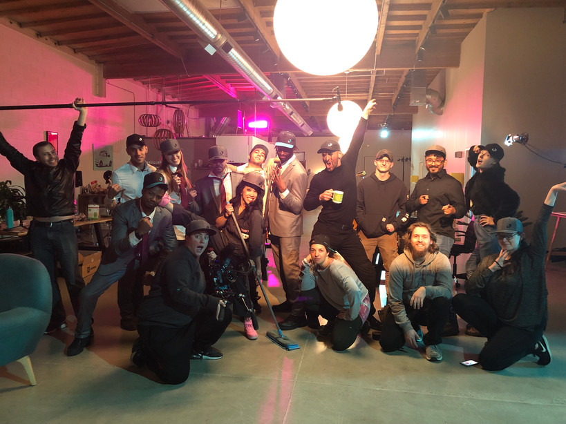 The cast & crew of Cleaning House on set!
