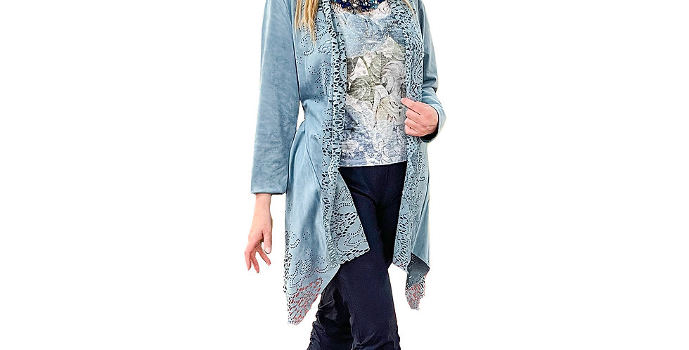 Stretch Microsuede Lasered Lace Asymmetric Jacket