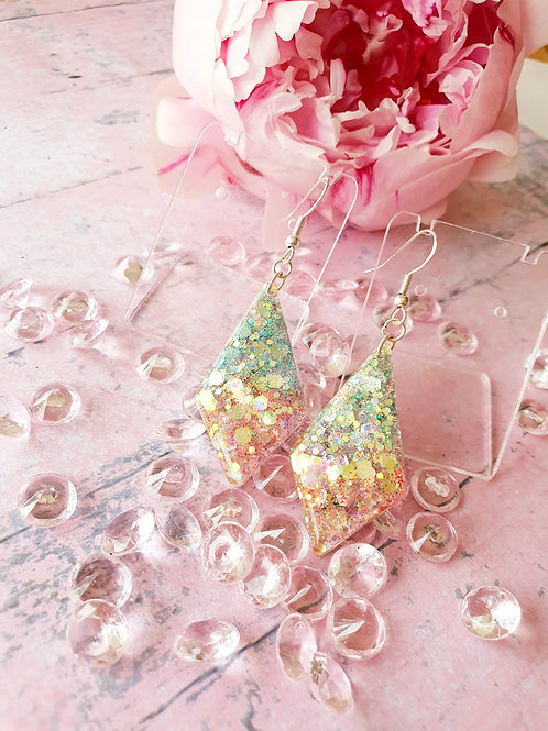 925 Sterling Sliver Green and Pink pastel glitter earrings