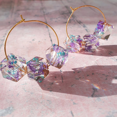 Delicate Flower Beaded Hoop Earrings