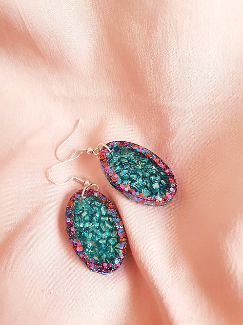 925 Sterling silver resin dangle earrings - sparkly teal