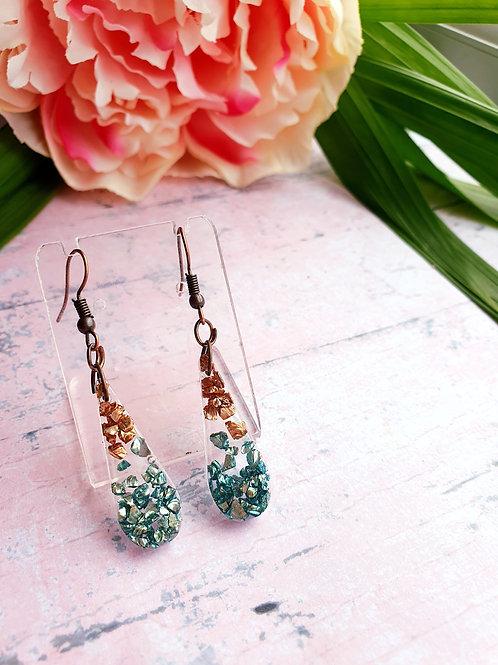 Green and Bronze Dangle Earrings