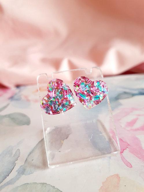 Heart Earstuds - pink/blue - hypoallergenic