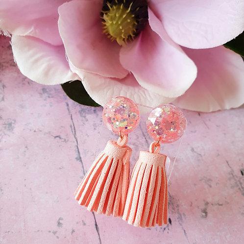Pink Tassel and glitter dangles - hypoallergenic