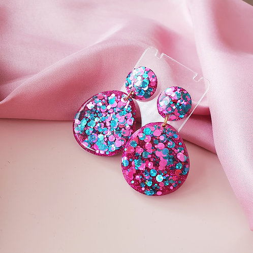 Teal and Rose Pink Chunky Glitter Earrings - hypoallergenic