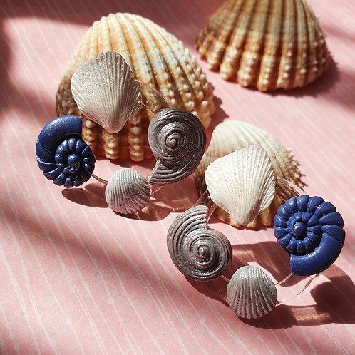Seashell statement stud earrings - hypoallergenic