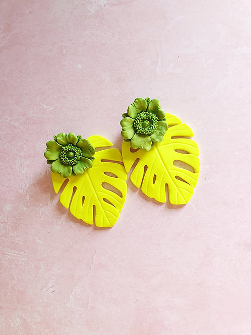 Tropical earrings in neon