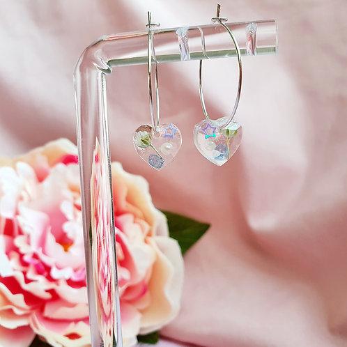 Tiny pearl and flower heart hoop earrings