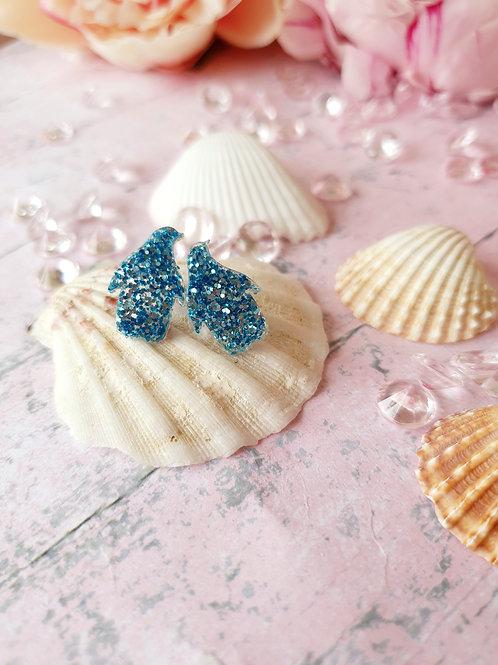 Blue glitter Penguins earstuds