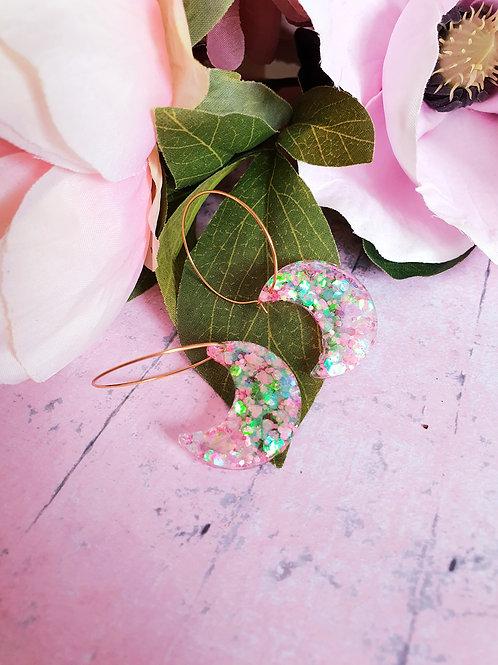 Holo glitter Moon hoop earrings