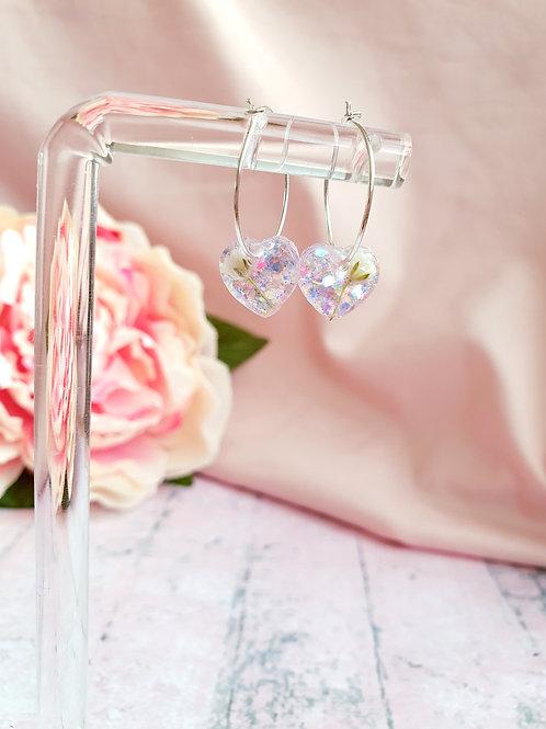 Flower and glitter heart hoop earrings