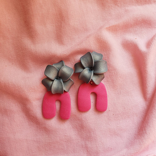 Teal and hot pink dangles