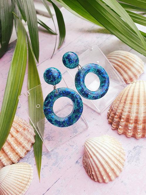 Blue tones glitter dangle earrings - hypoallergenic