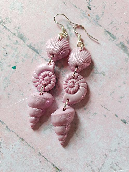 Unicorn liliac pearl effect earrings in 925 sterling silver