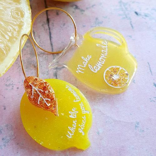 When life gives you lemons... gold glitter hoop earrings