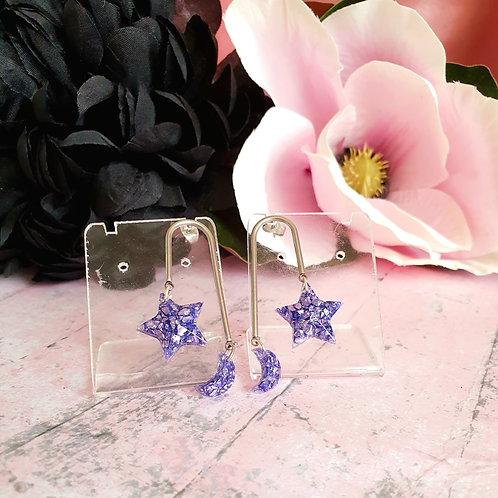 MoonStar Sparkly Stones Earrings - in liliac