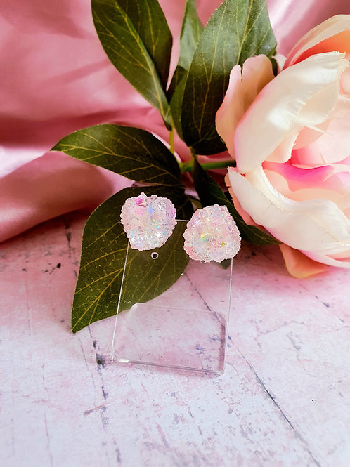 White Crystal Ear Studs - hypoallergenic