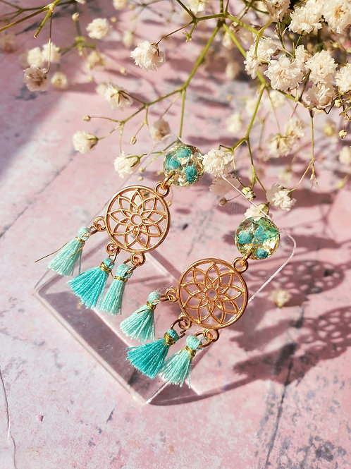 Dream Catcher Earrings - Tiffany Blue - hypoallergenic