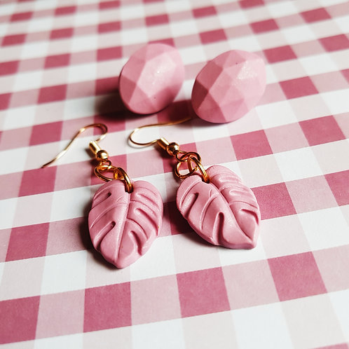 Pink Summer Set - dangles and earstuds