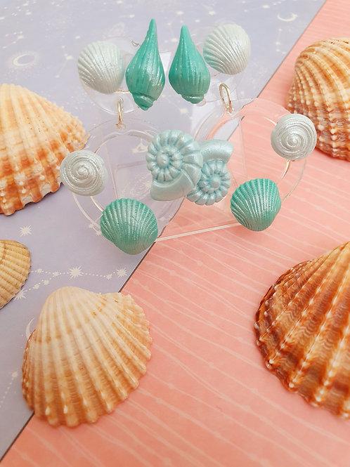 Tiffany blue seashell earrings - hypoallergenic
