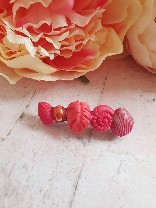 Rose red tropical hair barrette
