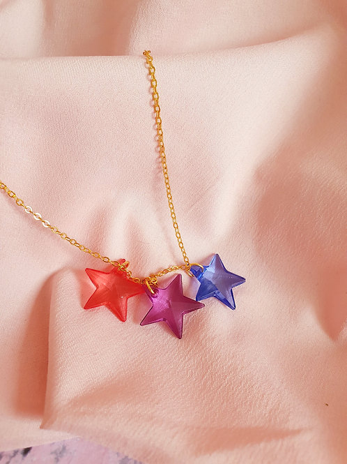 Star Necklace - red, purple and blue