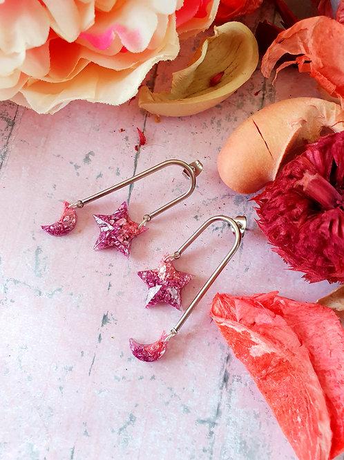 MoonStar Sparkly Stones Earrings - in baby pink
