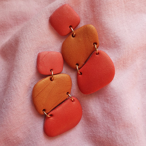 Amber and Red cute stone dangles