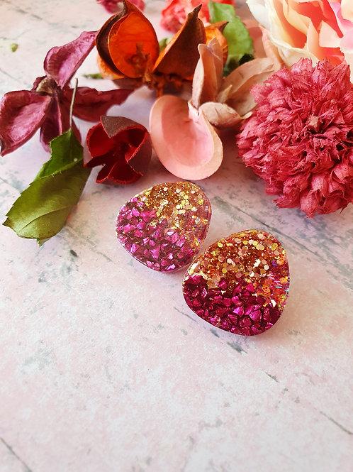 Gold and Burgundy Glitter Ear Studs