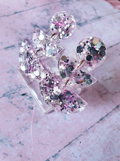 Mirror silver glitter with pink details - dangly earrings - hypoallergenic