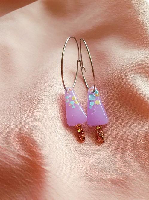 Pastel liliac glitter ice lolly hoop earrings