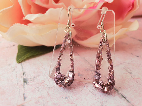 925 Sterling Silver Pink Druzy Earrings