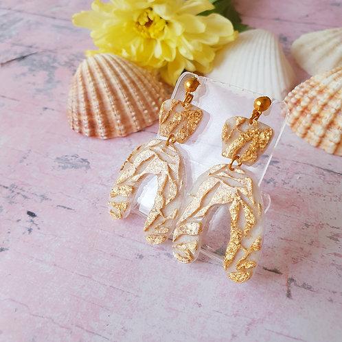 3d Floral Arch Earrings - golden foil leaf details