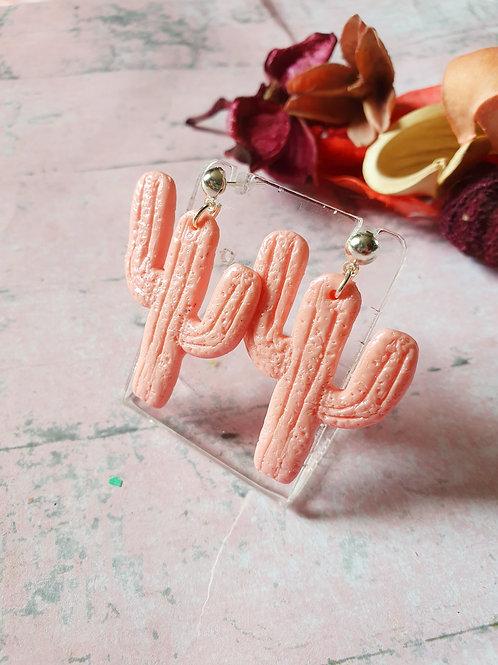 Pink pearl effect cactus earrings