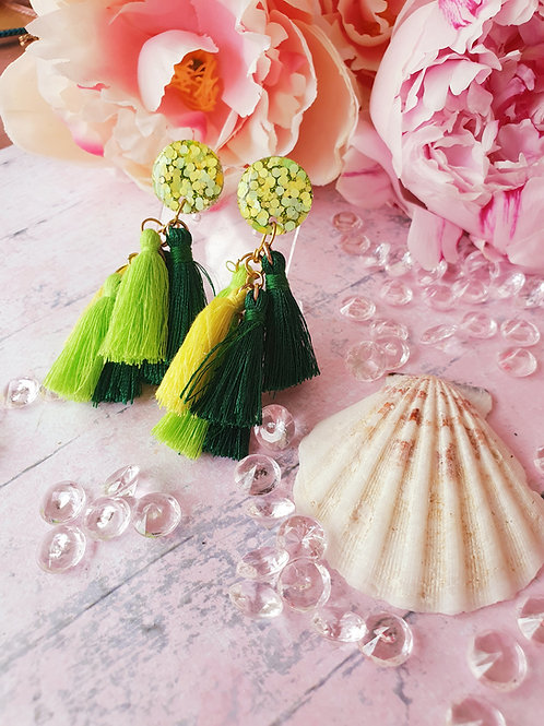 Fresh Green Tassel earrings - hypoallergenic