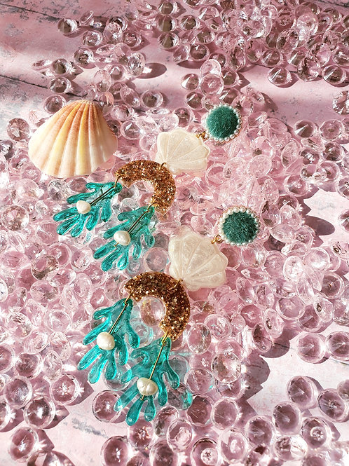 Mermaid Statement Long Dangle Earrings