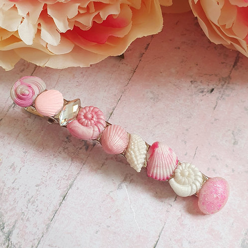 Pearl effect seashell hair clip in pink and white - long