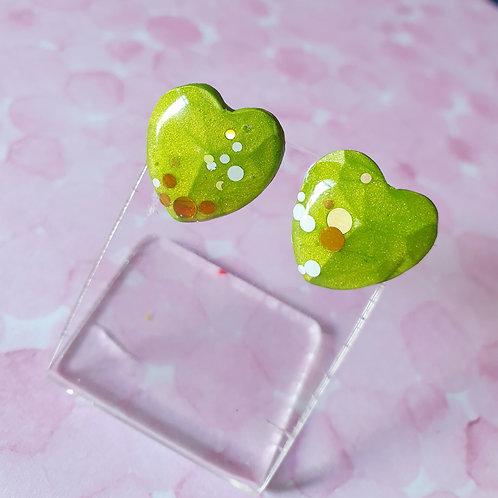 Juicy green gloss ear studs - hypoallergenic