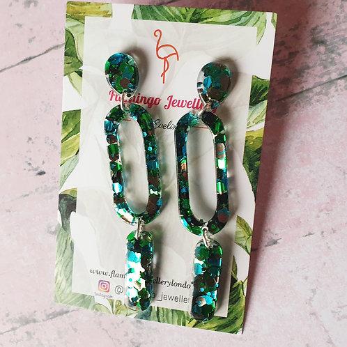 Deep green glitter dangles