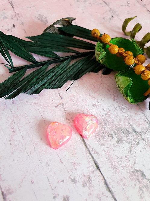 Neon pink heart earrings - hypoallergenic