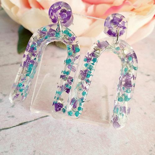 Flower petals arch earrings - hypoallergenic