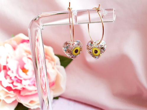 Avocado glitter heart hoop earrings
